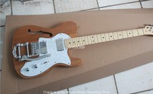 direct Telecaster Semi-hollow F hole body  Bigsby 6 Strings  Natural wood color  Electric Guitar with 2 humbucker pickups