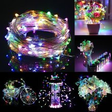 2M 5M 10M LED Light String USB Powered Operated Metal Fairy Wire Strip Outdoor indoor Holiday Wedding Party Christmas Decoration(China)