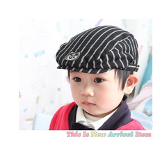 2016 New Baby Hats For Boys Stripes Boys Summer Hat Cool Baby Cap Cute Boy Beret Infant Baby Boy Caps(China)