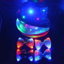 Woman Men Boy Girl Cool LED Flashing Sequins Light Up Jazz Cap Hat Bow Tie Birthday Party Dance Show Dress Decor