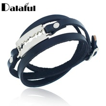 Men's Women's Genuine Leather Metal Razorblade Unique Cuff Multilayer Punk Gothic Rock Bangle Bracelet S269(China)