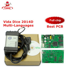 Top Sale For Volvo Vida Dice 2014D Newest Version Professional Car Diagnostic Tool Dice Pro Full Chip Green Board Free Shipping