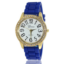 Fashion Candy color Silicone watches Woman Crystal Quartz Clock Casual student Rhinestone jelly Quartz Wristwatches dial