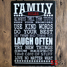 Family Rules metal art poster home decor House Cafe Vintage Bar signs Wall Decor Retro Metal Art Poster Mix order 20*30CM