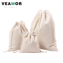 3pcs/set Gift Bags for Girls Boys Children Canvas Pouch Drawstring Solid Color Candy Gift Storage Bags Small Bags B1128