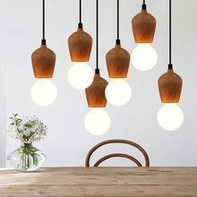 Retro Vintage Wood Pendant Light Lamp Loft Creative Personality Lamp Edison Bulb American Style For Living Room