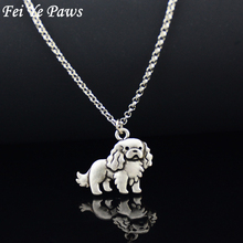 Fei Ye Paws Stainless Steel Chain Vintage Cavalier King Charles Spaniel & English Toy Spaniel Dog Pet Charm Pendant Necklace(China)