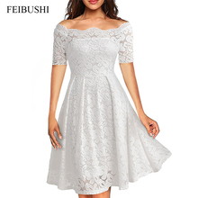 FEIBUSHI 2017 Summer Embroidery Sexy Women Lace Off Shoulder Dresses Short Sleeve Casual Evening Party A Line Formal Dress(China)