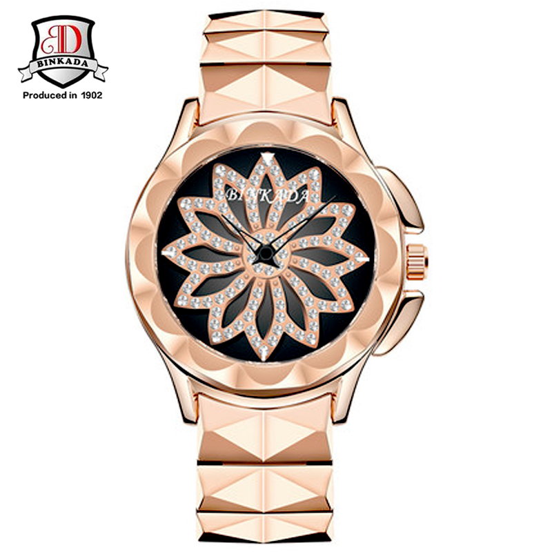 BINKADA New Fashion Women Watch Rose Gold Steel Quartz Bracelet Watches Ladies Waterproof Luxury Wristwatch Crystal Dail Watch<br>