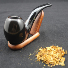 Handmade Natural Ebony Wood Weed Tobacco Smoking Pipe Set Flat Bottom Wooden Pipe + Pouch + Holder + 10pcs 9mm Pipe Filters 409