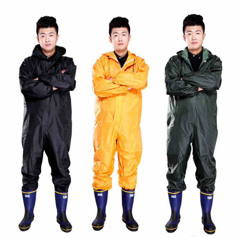 Men Waterproof Overalls Hooded Rain Coveralls Work Clothing Dust-proof Paint Spray Male Raincoat Workwear Safety Suits M-XXXL<br>