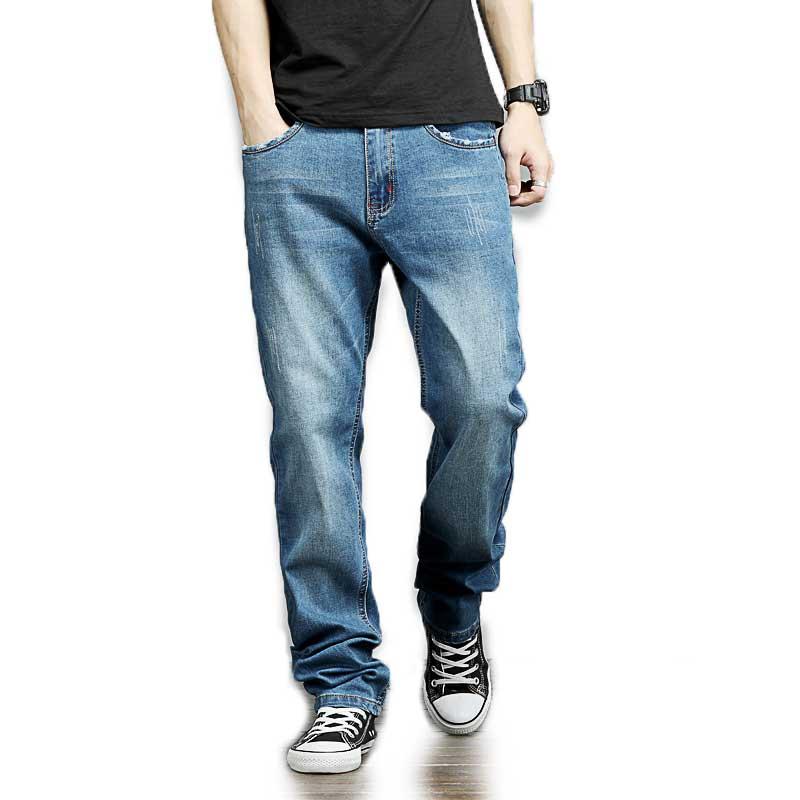 Oversize Men Relaxed Fit Jeans Denim Pants Autumn Winter Plus Size Mens Clothing 2017 New Arrival 40 42 44 46 48Îäåæäà è àêñåññóàðû<br><br>