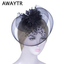 AWAYTYR Hair Accessories Fancy Elegant Lady Top Net Mesh Birdcage Veil Feather Hairpin Hat Hair Clip for Wedding Church Party