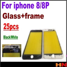 25pcs For iPhone 8 8P Plus Front Glass Repair Parts black white Top Quality 2 in 1 New Screen Outer Glass Lens+Frame Replacement(China)