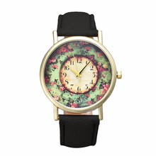 Pastorale Floral Watch Women Clock Vogue Leather Wrist Watch Reloj Mujer 2017 Woman Brand Analog Quartz Dial Watches Lady #N