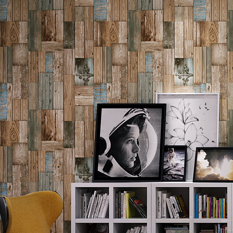 Beibehang Retro Nostalgic 3D Stereo Imitation Striped Wallpaper Restaurant Cafe Bar Personal Color Wooden Board 3d Wallpaper<br>