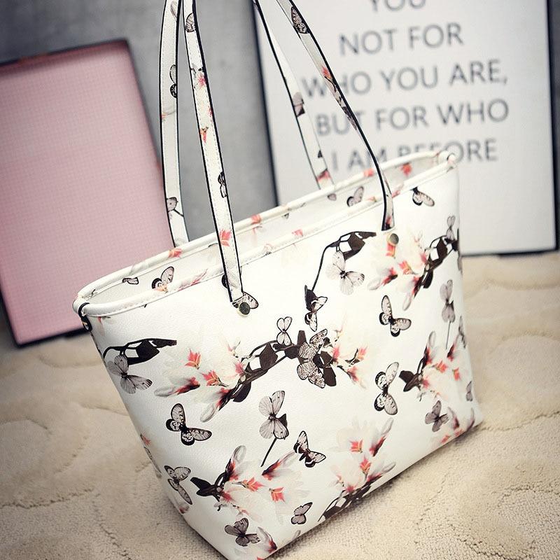European&amp;American Style Women Handbags Floral Butterflies Shoulder Bag Appliques Lady Bolsa Feminina Zipper Female Large Bag Sac<br>