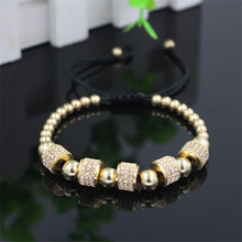 Hot Sale Gold-Color Full Crystal Charm Anil Arjandas Fashion Bracelet Pave Setting Czech Bead Weave Men Macrame Bracelet