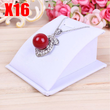 BEST PRICE MINI VELVET/PU LEATHER NECKLACE PENDANT CHAIN LINK BRACELET JEWELRY DISPLAY HOLDER STAND WHITE/BLACK 16PCS/LOT