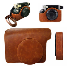 For Fuji Fujifilm Instax Wide 300 Instant Photo Camera Brown Leather Bag Carry Cover Case Pouch Protector with Shoulder Strap