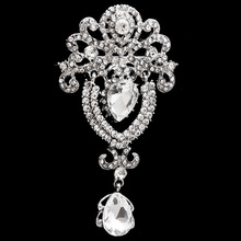 New Arrived Silver Plated Palace Water Drop Design Brooch pins For Women Wedding and Party Dress,Bridal pins,hijab pins,