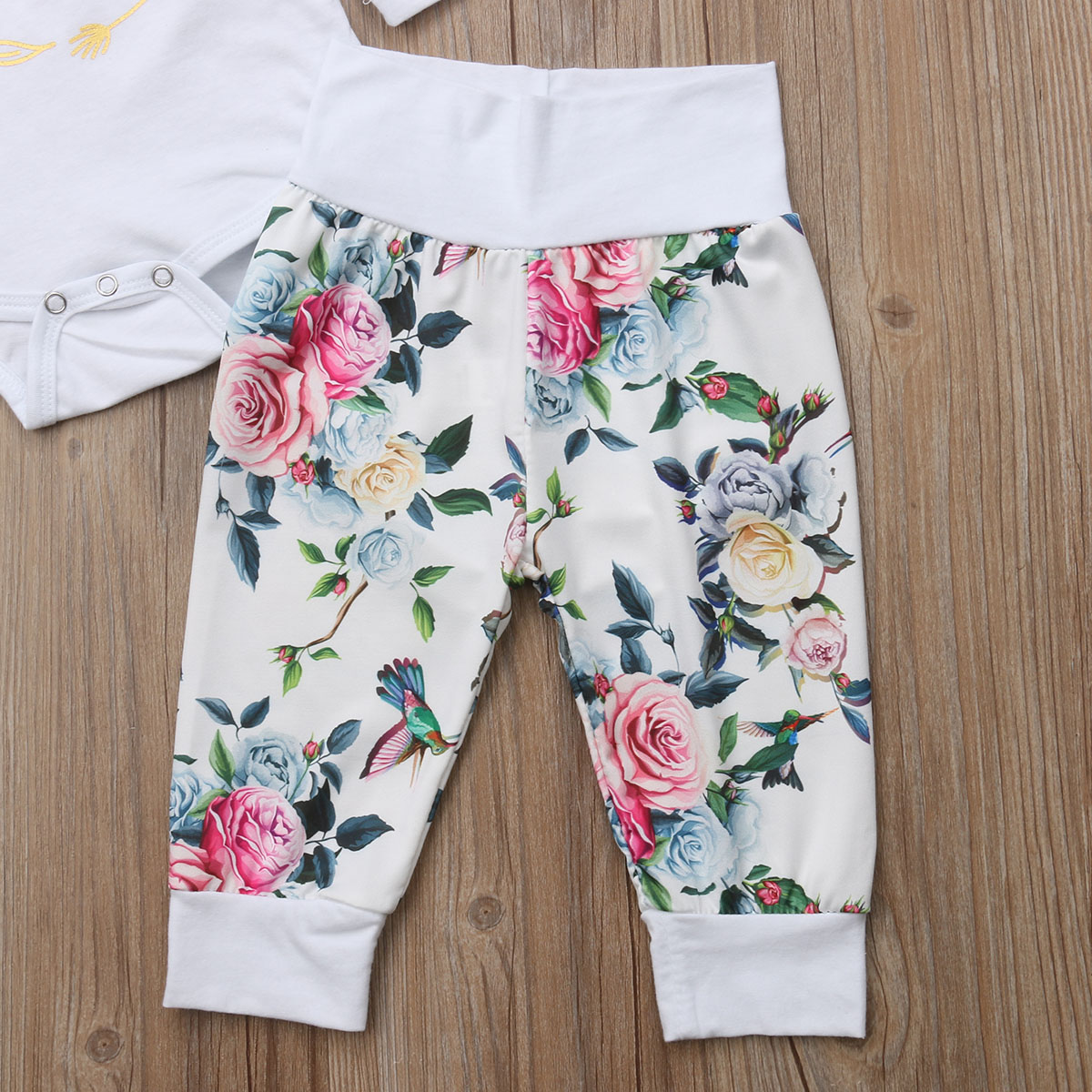 Baby Girl Floral Romper Clothes Set Infant Girl Long Sleeve Jumpsuit Romper+Flower Pants Girl 2018 Autumn Winter Outfit Set Suit