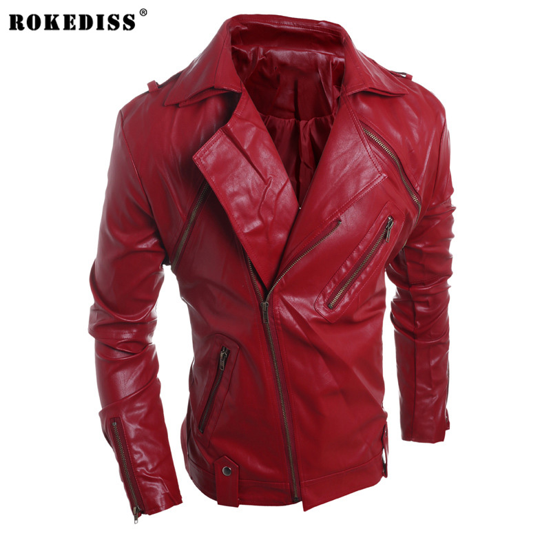 ROKEDISS 2017 Fall Fashion Winter Leather Jacket Men Faux Fur PU Leather Jacket Bomber Motercycle Jacket Z019