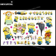 SHNAPIGN Cute Minions Child Temporary Tattoo Body Art Flash Tattoo Stickers 17*10cm Waterproof Home Decor Styling Tatoo Sticker