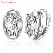 Yunkingdom Oval Design Charming Hoop Earrings for Women Clear Crystal Zirconia Fashion Earring(China)