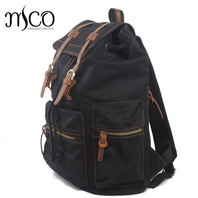 Neutral Vintage Canvas Double Shoulder Men Backpack Bag Large Capacity Travel Rucksack Backpacks For Teenage Girls School Bags<br>