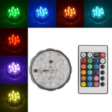 10 LED Multi Color Submersible Underwater Holiday Waterproof Lanterns Durable Party Vase Light Remote  Control