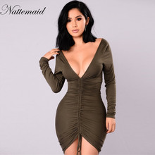 NATTEMAID Women winter Long Sleeve Dresses 2017 Elegant Vintage Work Office Business Party vestido Elegant Bodycon Pencil Dress(China)
