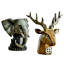 Nordic Industrial Resin Crafts Mechanical Style LOFT Horse Statue Deer Head Figurine Bar Cafe Showcase Furnishing Article Props(China)