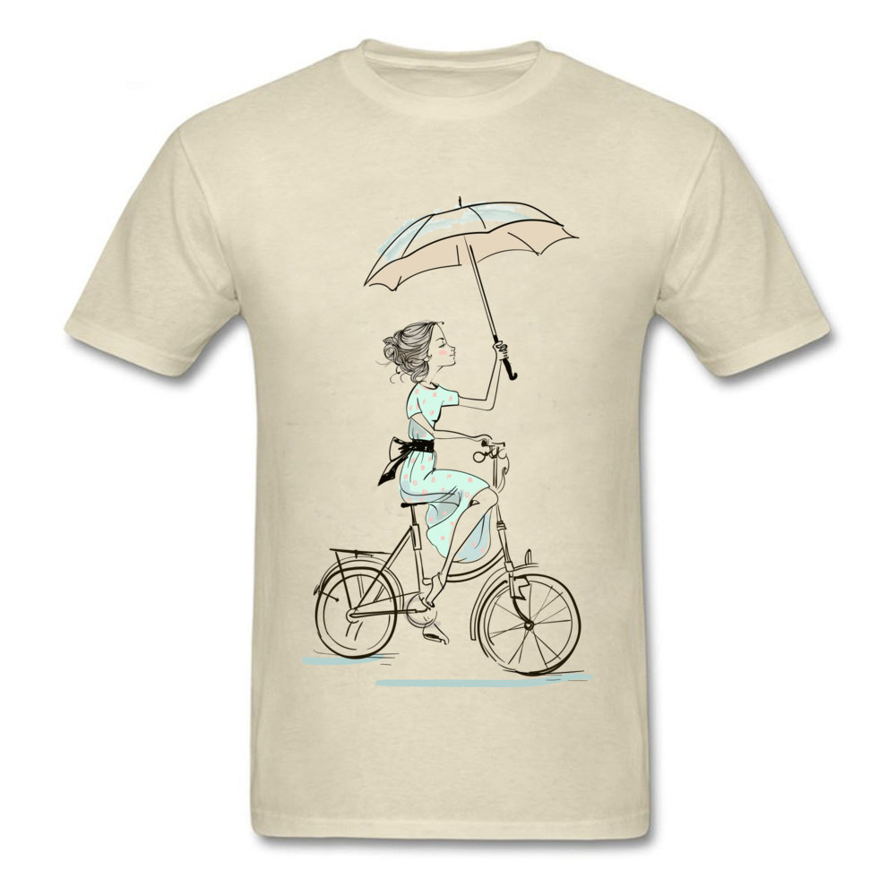 umbrellas girl riding a bicycle Fitted Men T Shirts Crewneck Short Sleeve All Cotton Tops & Tees Fitness Tight Tees umbrellas girl riding a bicycle beige