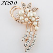 ZOSHI Fashion Jewelry High Quality Vintage Brooch Pins Austria Crystals Imitation Pearl Flower Brooch Wedding Accessories