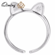 QIMING Summer Style 925 Sterling Silver Rings for Women cute 3D Cat Ear Wedding Ring Bijoux Pendientes Anillos Vintage Wholesale