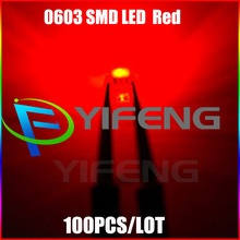 100pcs Red 0603 SMD/SMT Super Bright lamp LED light High quality New