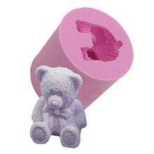 3D Cute Bear Silicone Soap Mold Fondant Cake Decorating Tools Sugarcraft Cake Chocolate Mold Gum Paste Candle Moulds