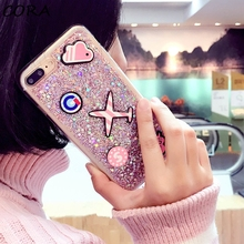 Luxury Bling Glitter Phonecases For iphone7 FashionShining Powder Back Cover For iphone 7 6 6S Plus cartoon Fundas NEW DIY