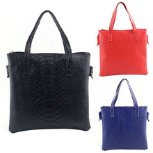 New Fashion Women PU Leather Crocodile Pattern Square Handbags Portable Shoulder Messenger Bag Crossbody Black Red And Blue(China)
