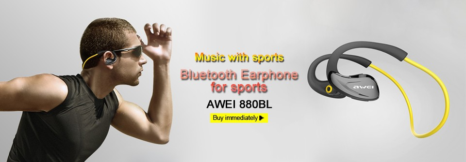 AWEI A885BL Bluetooth Earphones Wireless Headphones With Microphone NFC APT-X For iPhone 6 7 Sport Headset for Samsung Phones