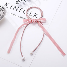 New Beauty Women Solid Velvet Ribbon Bow Ball Two Layers Elastic Hair Bands Ponytail Holder Rubber Rope Bands Hair Accessories(China)