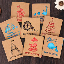 1 x Creative Hollow out Kraft paper small card with envelope Birthday/holiday greeting message card Christmas New Year Gift card