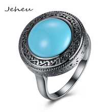 Vintage Turquoise Big Stone Jewelry Ring for Women Black Gun Color Ring 2017 New Arrival