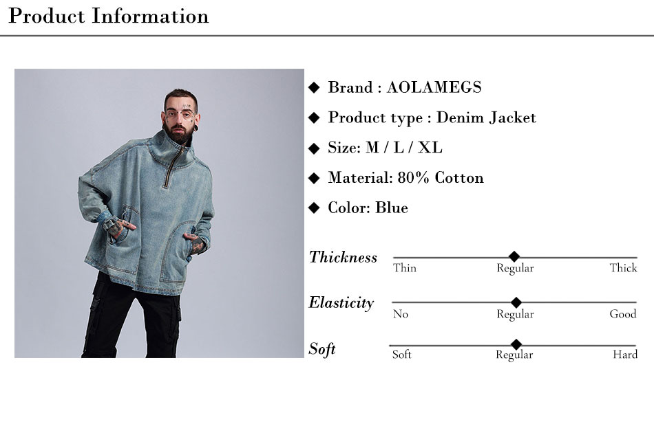 Aolamegs Denim Jacket Men Hanging Shoulder OVERSIZE Cowboy Casual Men's Jacket High Street Fashion Stand Collar Outwear Men Coat (18)