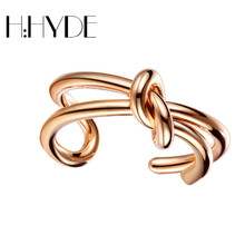 H:HYDE Romantic Gift Retro Double Bow Knot Design Rings Rose Gold Color wedding Element Rings Open Word Ring For Women Jewelry