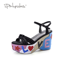 Pink Palms summer new arrival cross strap letters glitter wedge black color high heels casual sandals(China)