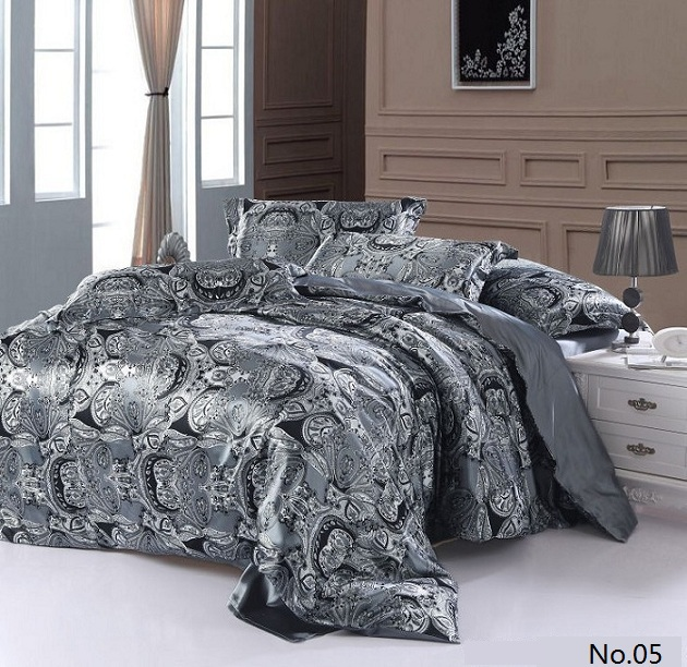 7pcs Silver Grey Paisley Silk Satin Bedding Sets California King Quilt  Duvet Cover Fitted Sheets Bed