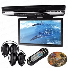 "15.6"" Black Flip Down Car DVD Car Roof DVD Roof Monitor DVD with Built in IR/FM Transmitter & HDMI Port & 2 IR/FM Headphones"