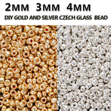 Gold and Silver Color 2/3/4mm 50gram Crystal Glass Spacer beads, Czech Seed Beads For Jewelry Handmade DIY